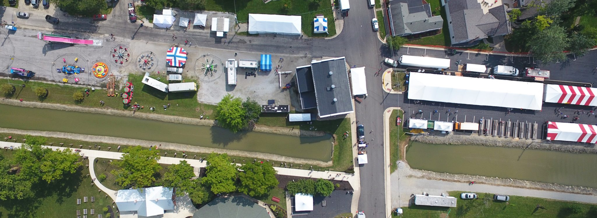 An arial view of downtown New Bremen, Ohio during Bremenfest